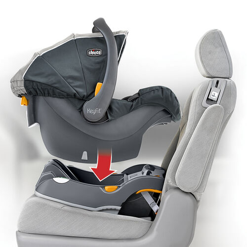 Chicco's KeyFit 30 infant car seat snaps in to the in-vehicle base