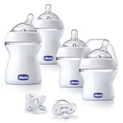 The Baby's First Bottle Gift Set Includes:  2 - 5oz Bottles with 1 Angled & 1 Straight Slow Flow Nipple  2 - 8oz Bottles with 1 Angled & 1 Straight Slow Flow Nipple 2 - Silicone Orthodontic Pacifiers