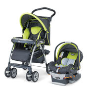 Chicco Cortina SE Travel System in a bright green and dark gray style called Zest