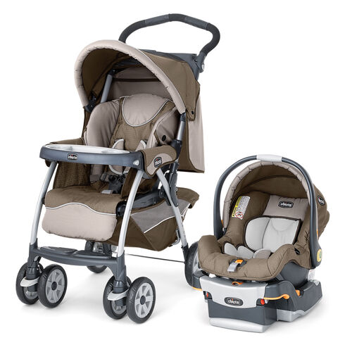 Chicco Cortina SE Stroller and KeyFit 30 Infant Car Seat and Base in tan and beige with subtle gold chevron pattern
