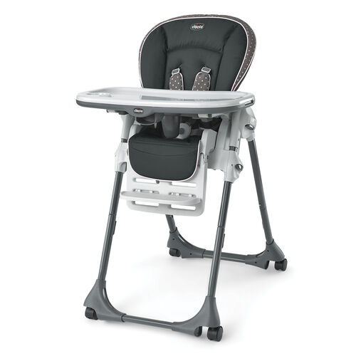 The Chicco Polly Highchair features soft grays and light pink polka dots