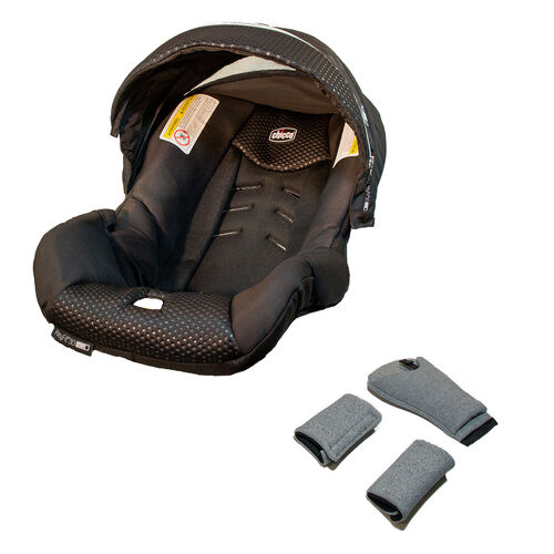 KeyFit Zip Infant Car Seat Cover, Canopy, and Pads - Obsidian in Obsidian