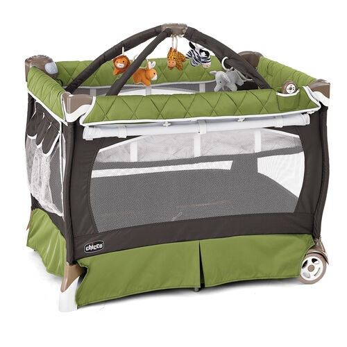 Chicco Lullaby LX Playard in dark gray and earthy green - Elm