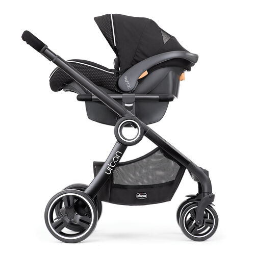 Keep an eye on baby with the rear-facing KeyFit 30 Infant Car Seat Carrier configuration of the Chicco Urban Stroller - Obsidian