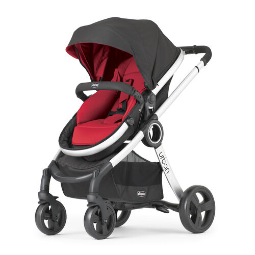 Chicco Urban stroller with red seat pad and red canopy insert
