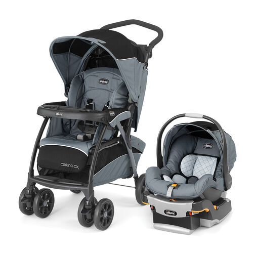 With the extended canopy and front & rear basket access, the Chicco Cortina CX Travel System is perfect for newborns and babies