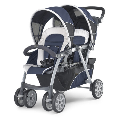 Chicco Cortina Together Double Stroller in dark navy blue and silver - Equinox