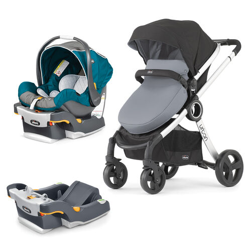 Chicco KeyFit 30 Infant Car Seat and Urban 6-in-1 Modular Stroller Bundle with Free Car Seat Base - Polaris and Coal