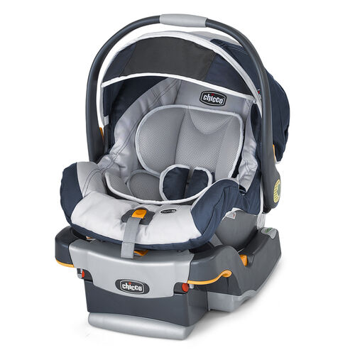 Chicco Equinox KeyFit 30 Infant Car Seat and Base in navy blue and light grey