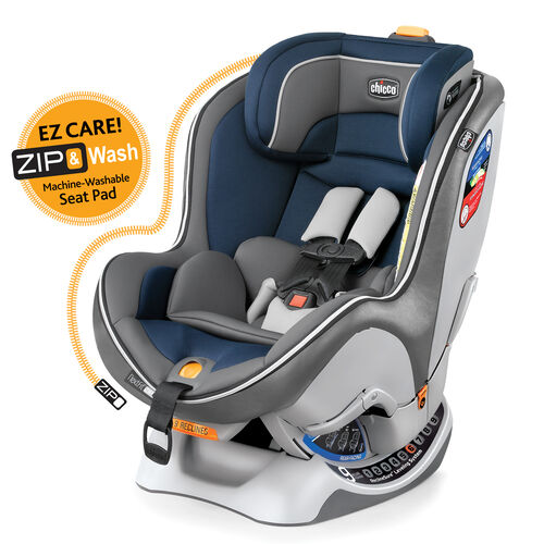 Chicco NextFit Zip Convertible Car Seat in dark blue and gray Sapphire style