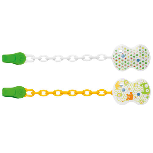 Chicco NaturalFit Pacifier Clips - gender neutral green and orange
