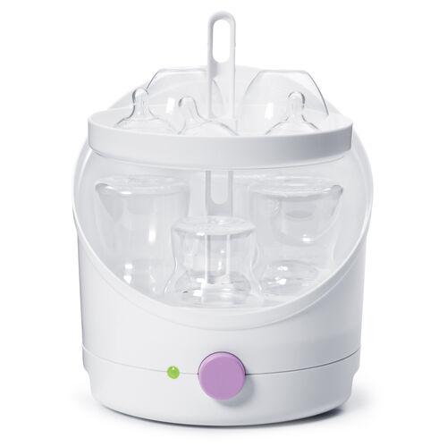 The NaturalFit Electric Bottle Sterilizer holds up to 8 Chicco NaturalFit Baby Bottles