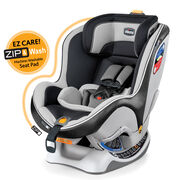 Chicco NextFit Zip Convertible Car Seat in dark navy blue with gray patterned fabric accents - Castlerock