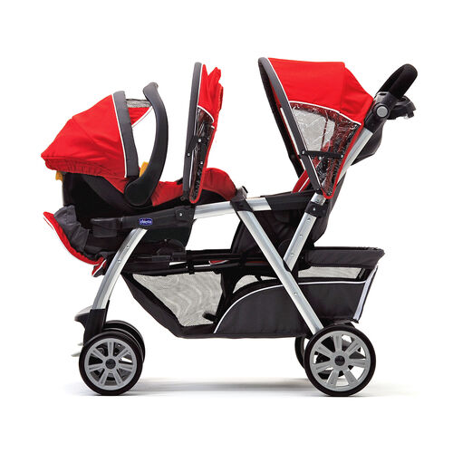 Cortina Together Double Stroller can hold an infant and an older child. The KeyFit 30 Infant Car Seat fits in either the front or back seat