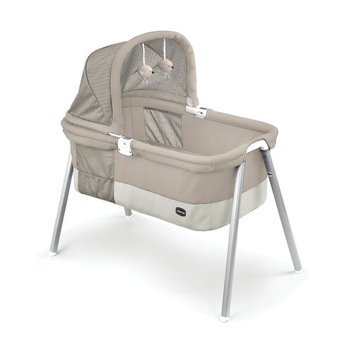 The two-tier design allows Bassinet floor to be raised closer to mom for the first months