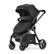 Stunning all black Chicco Urban 6-in-1 Modular Stroller with dimpled fabric accents in Obsidian style