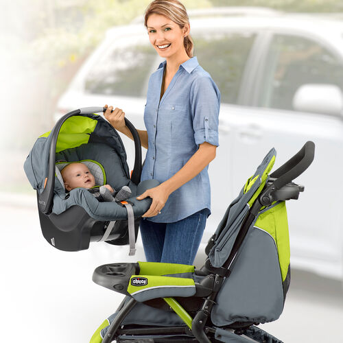Connect the KeyFit 30 infant car seat to the Chicco Cortina CX stroller for easy traveling