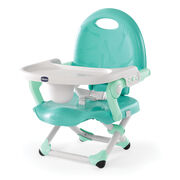 The convenient compact fold of the Chicco Pocket Snack Booster seat is great for at home or on the go