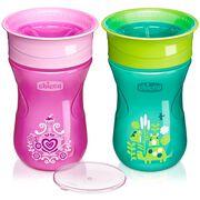 NaturalFit 9oz 360° Rim Set of 2 Trainer Cups - Pink/Teal in
