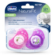 NaturalFit Flair 12M+ Set of 2 Pacifiers - Pink in