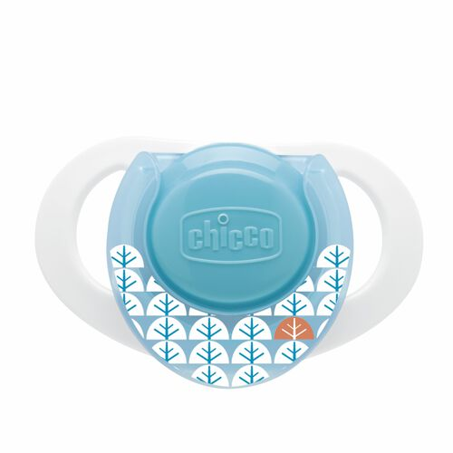 Aqua and White Chicco NaturalFit Deco 0M+ Orthodontic Pacifier with white tree/leaf pattern