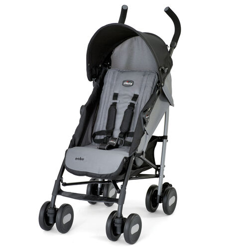 Chicco Echo Lightweight Stroller in Coal Gray with Black Accents