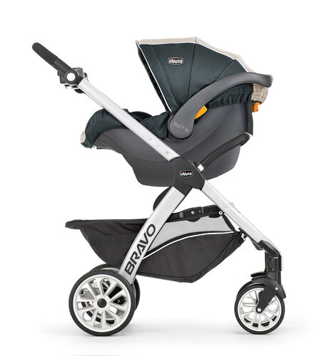 The Bravo Stroller easily converts into an infant car seat carrier
