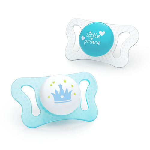 NaturalFit 0-2m mi-cro Set of 2 Pacifiers - Blue in