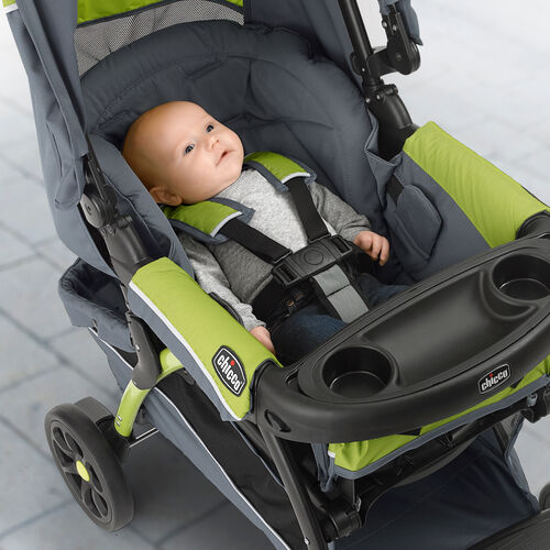 The Chicco Cortina CX Travel System Stroller features a 5 recline positions with memory recline technology