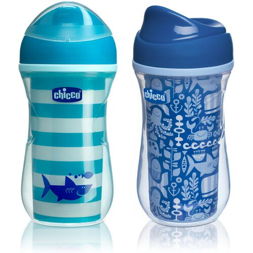 NaturalFit 9oz Insulated Rim-Spout Set of 2 Trainer Cups - Teal/Blue in