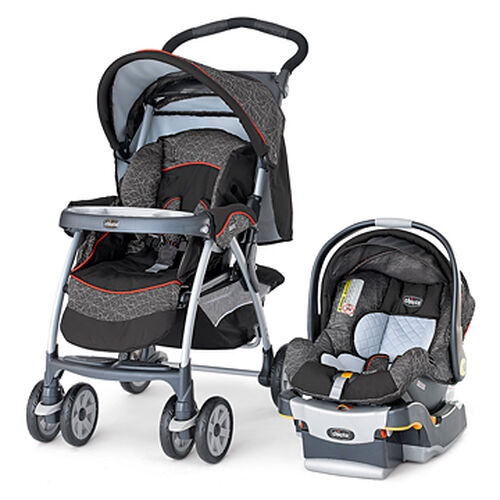 Chicco Cortina Stroller and KeyFit 30 Infant Car Seat in brown and orange - chicco cortina travel system stix