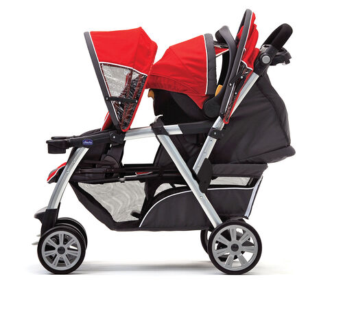 The cortina together stroller can accomodate 1 infant car seat and 1 toddler seated