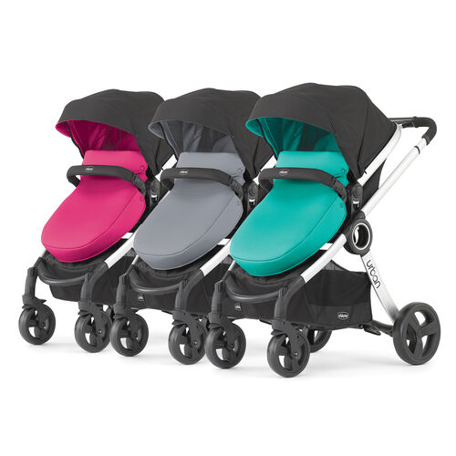 3 Chicco Urban Strollers with pink, gray and aqua Chicco Urban colour pack options