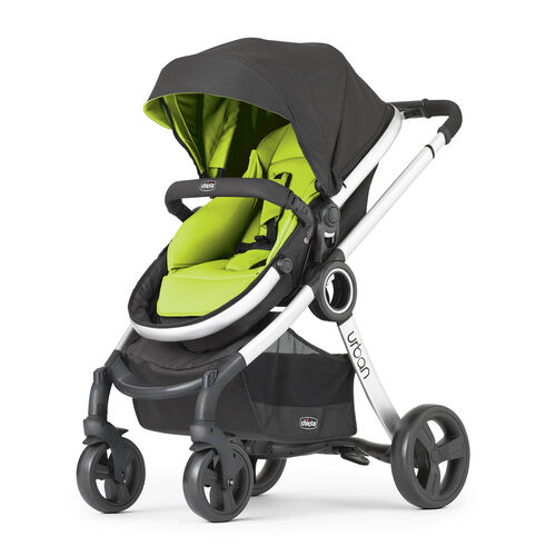 Chicco Urban Stroller in black with bright lime green color pack seat and canopy insert