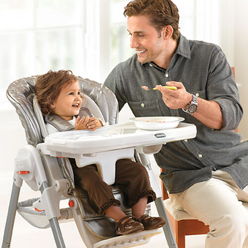 A snap-on tray makes mealtimes easy with the Polly Magic Highchair
