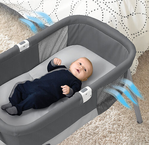 The mesh inserts on both side of the Chicco Lullago Deluxe Portabble bassinet provide perfect aeration
