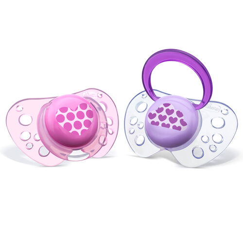 NaturalFit Flair 6-12M Set of 2 Pacifiers - Pink in