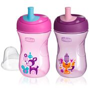 NaturalFit 9 oz First Straw Set of 2 Trainer Cups - Pink/Purple in