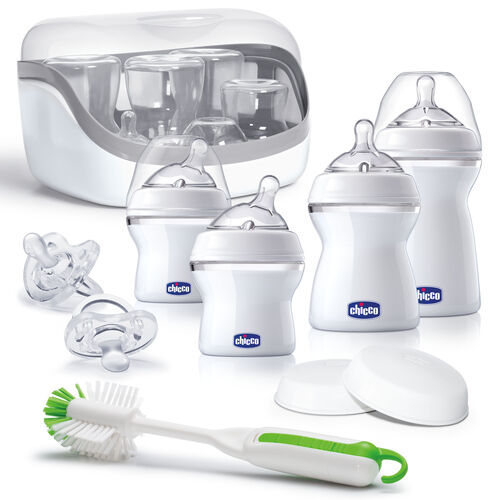 The Set Includes:  2 - 5 oz Bottles with Angled Slow Flow Nipples 1 - 8 oz Bottle with Straight Medium Flow Nipple 1 - 11 oz Bottle with Fast Flow Nipple 2 - Travel and Storage Lids 2 - Soft Silicone Orthodontic Pacifiers Bottle Brush Microwave Sterilizer