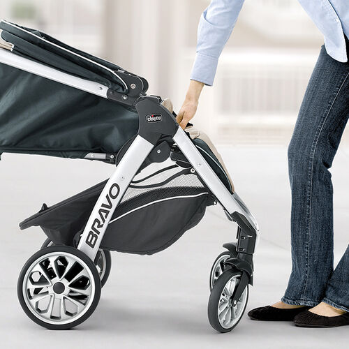 Front wheels on the Bravo Trio Stroller automatically turn to the correct position when folding