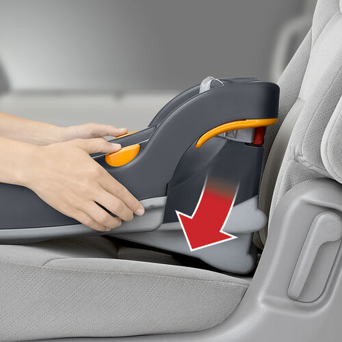 KeyFit 30 car seat chevron base recline angle is easily achieved with the spring-assisted leveling foot