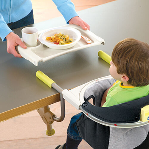 The Chicco 360 Hook On Highchair Midori has a serving tray that snaps into place