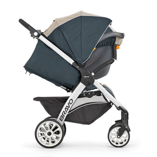 Chicco Bravo Trio Stroller can be used as a travel system for when your child switches between the Keyfit 30 Infant Car Seat and using the stroller