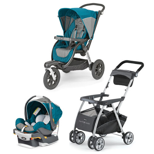 jogging stroller with carseat combo: Polaris aqua blue and gray KeyFit 30 Infant Car Seat and Activ3 Jogging Stroller bundle with FREE KeyFit Caddy Stroller