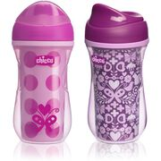 NaturalFit 9oz Insulated Rim-Spout Set of 2 Trainer Cups - Pink/Purple in