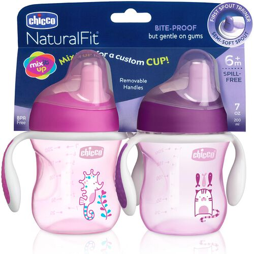 NaturalFit 7oz Semi Soft Spout Set of 2 Trainer Cups - Pink/Purple in