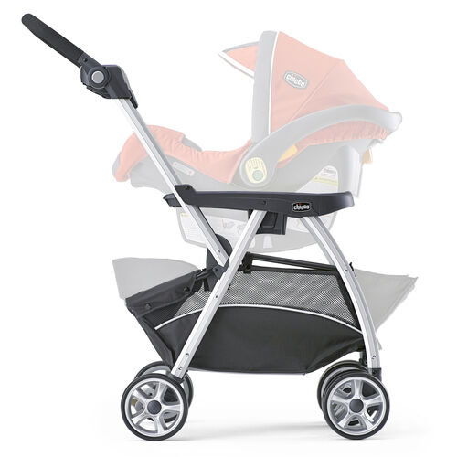 The Chicco KeyFit Caddy Stroller includes a large expandable storage basket and multi-position handle