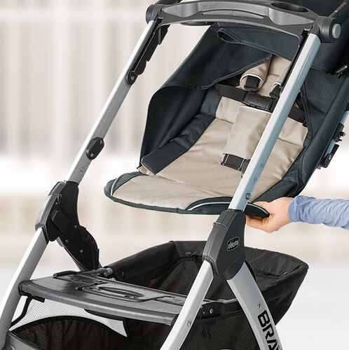 The seat pad on the Bravo Trio Stroller can be removed to convert the stroller to a lightweight KeyFit Carrier