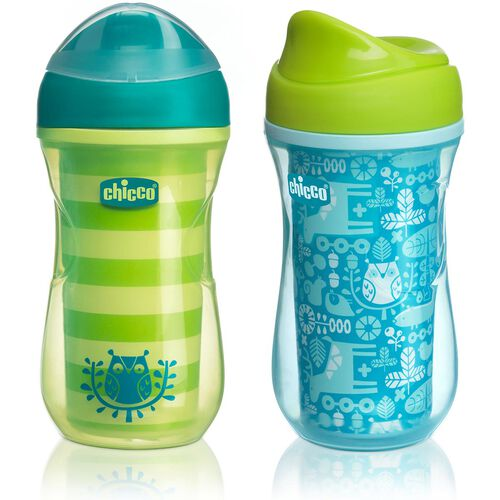 NaturalFit 9oz Insulated Rim-Spout Set of 2 Trainer Cups - Green/Teal in