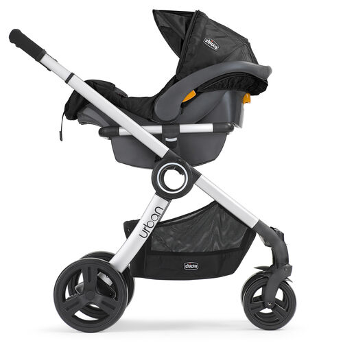 Chicco Urban 6-in-1 Modular Stroller in rear-facing KeyFit 30 Infant Car Seat carrier configuration